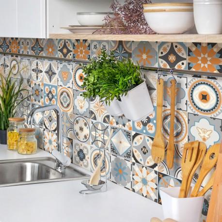 24 stickers carrelages azulejos grazelano - 10x10cm
