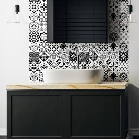 24 stickers carreaux de ciment azulejos alexiano 10x10cm pas cher stickers design discount. Black Bedroom Furniture Sets. Home Design Ideas