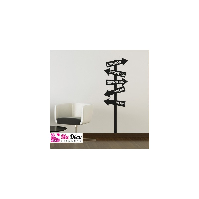 sticker panneaux de direction pas cher accueil discount stickers muraux madeco stickers. Black Bedroom Furniture Sets. Home Design Ideas