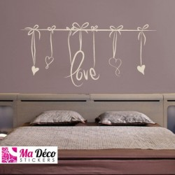 Sticker love t te de lit pas cher accueil discount for Pochoir tete de lit