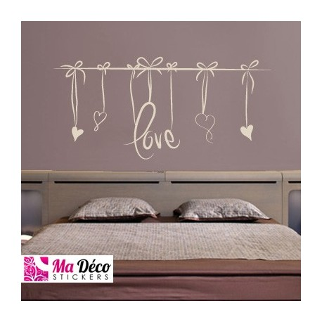sticker love t te de lit pas cher accueil discount stickers muraux madeco stickers. Black Bedroom Furniture Sets. Home Design Ideas