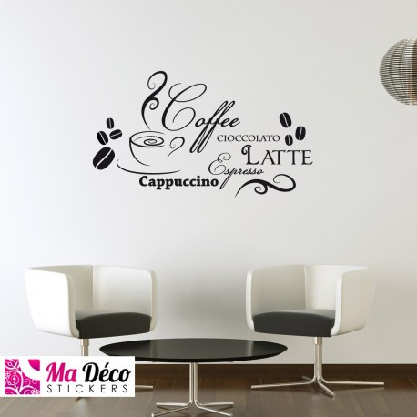 Sticker cappuccino latte pas cher stickers cuisine for Sticker mural cuisine