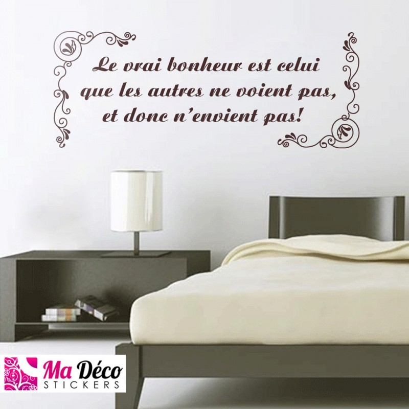 Stickers citation le vrai bonheur pas cher stickers for Stickers muraux citations chambre