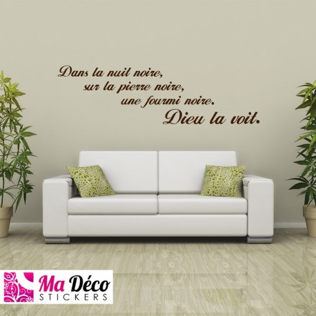 sticker citation dans la nuit noire pas cher stickers citations discount stickers muraux. Black Bedroom Furniture Sets. Home Design Ideas