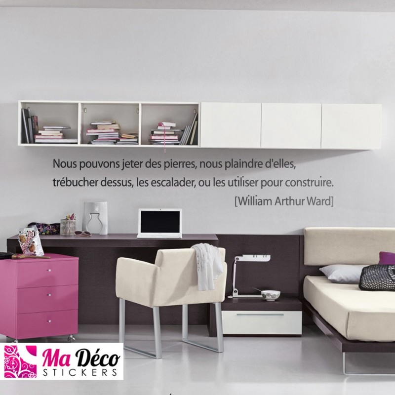sticker citation nous pouvons jeter des pierres pas cher stickers citations discount. Black Bedroom Furniture Sets. Home Design Ideas