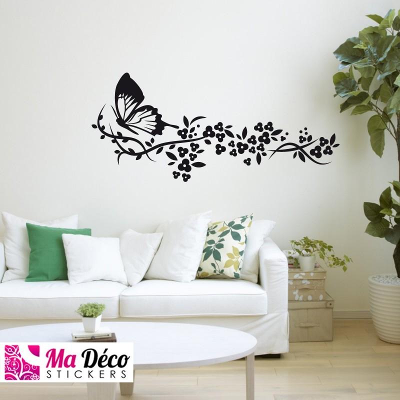 Sticker train e de fleurs et papillon pas cher stickers for Deco zen pas cher